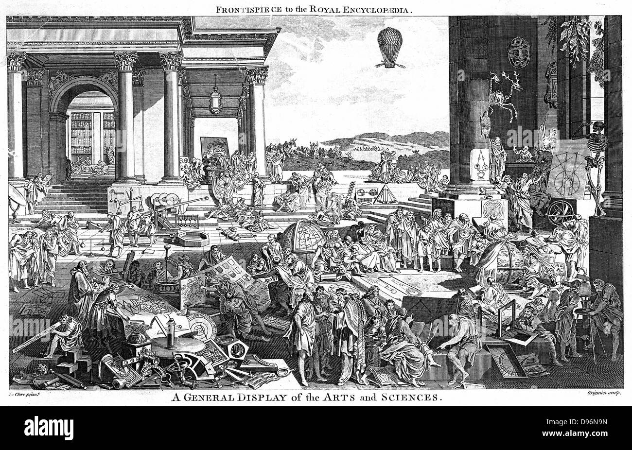 A General Display of Arts and Sciences. Engraving by Reynolds Grignion  after the picture by Leclerc. In this version, - Stock Image