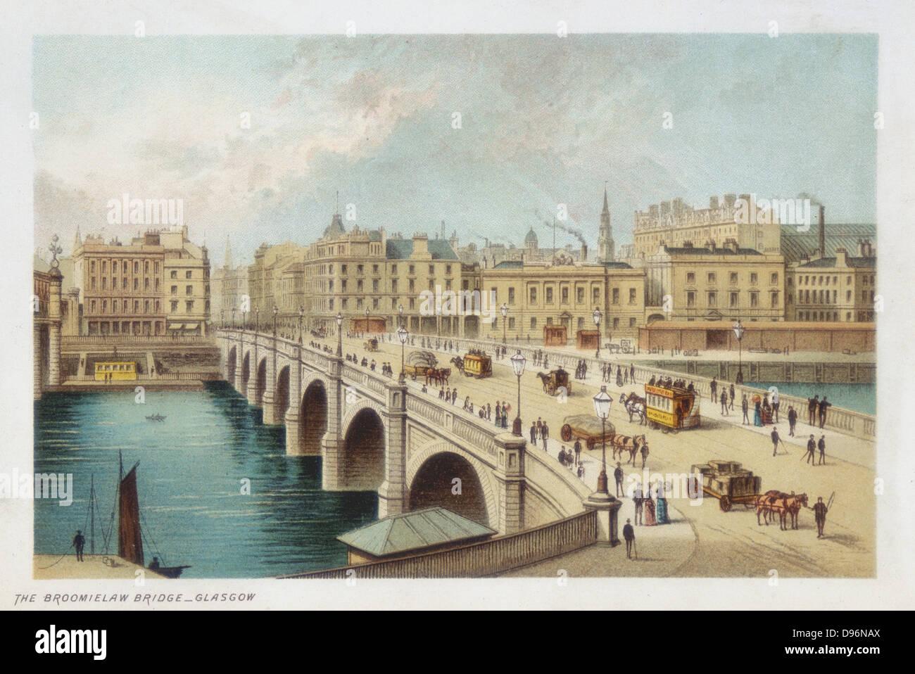 Thomas Telford's (1757-1834)  bridge over the Clyde at Broomielaw, Glasgow. His last stone bridge, begun 18 - Stock Image