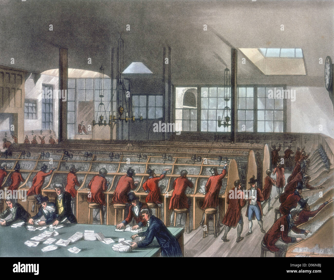 General Post Office, Lombard Street, London. Letters being sorted.Aquatint after Pugin and Rowlandson published Stock Photo