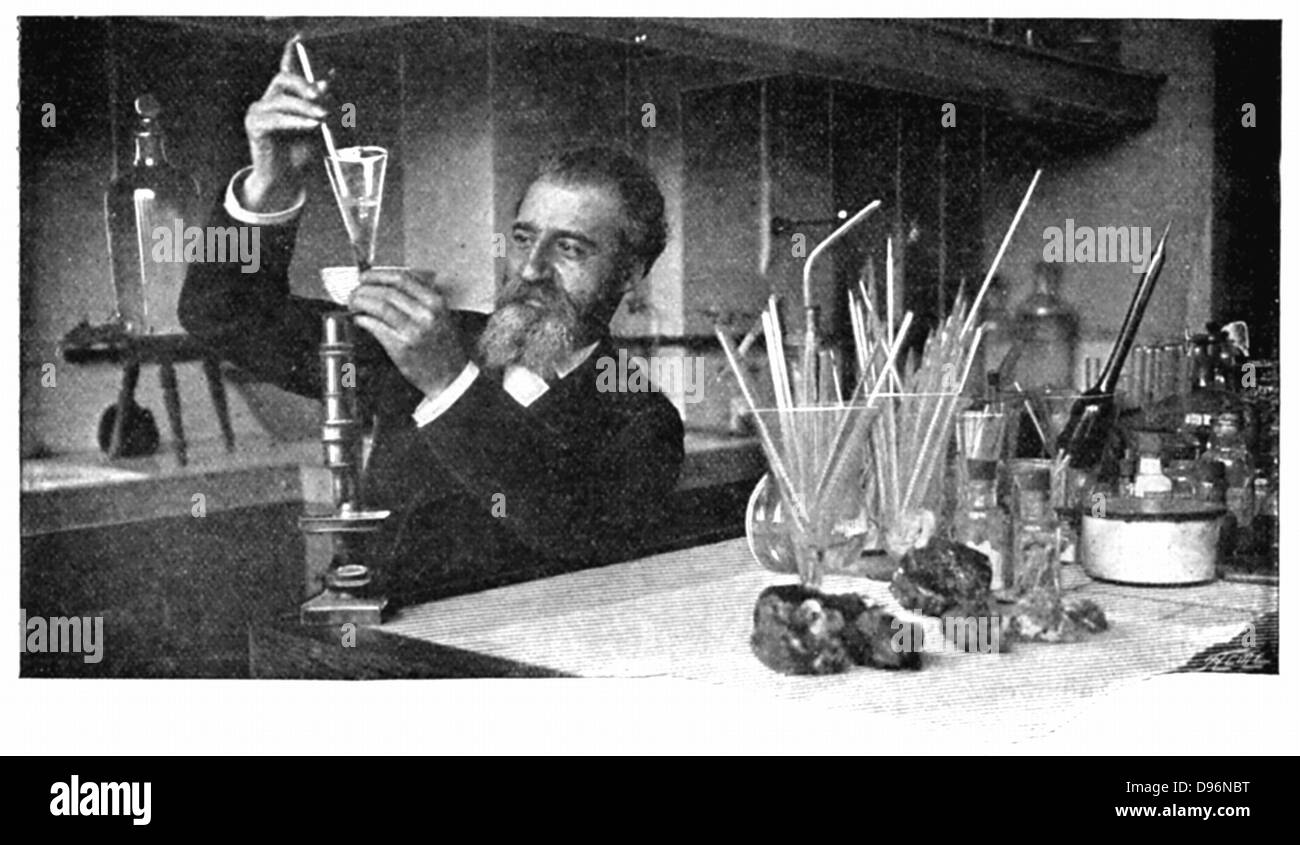 Henri Moissan (1852-1907) French chemist. Moissan recovering diamonds after dissolving the iron surrounding them - Stock Image