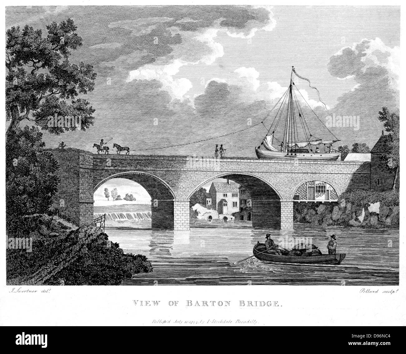 Bridgewater Canal, built to carry coals from the Duke of Bridgewater's mines at Worsley into the city of Manchester . Barge crossing the Barton aqueduct over the Irwell.  Canal opened 17 July 1761 and was later extended to Liverpool. Engineer: James Brindley. From copperplate by Pollard published in 1794. Stock Photo