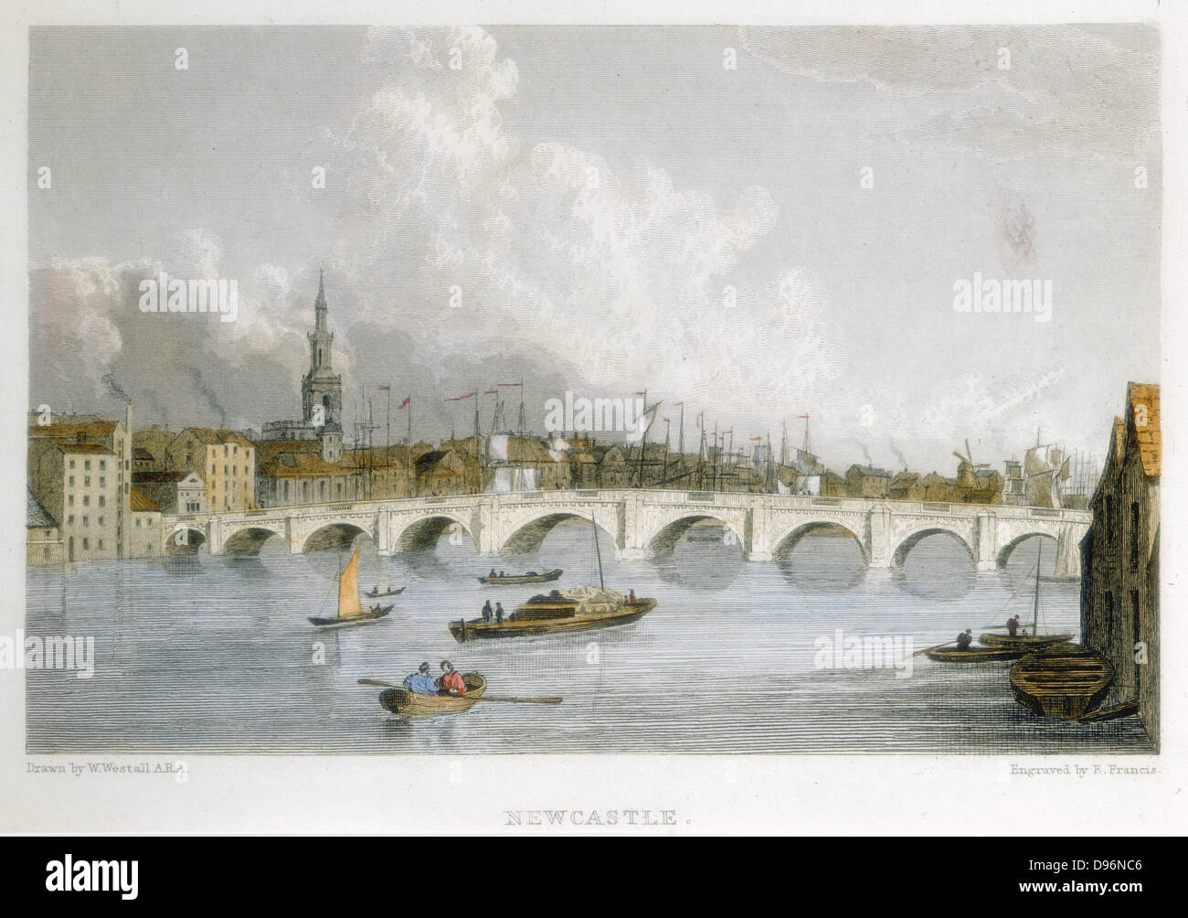 The Georgian stone bridge across the Tyne at Newcastle-upon-Tyne, England.   Opened in 1791, it was closed 1867 - Stock Image