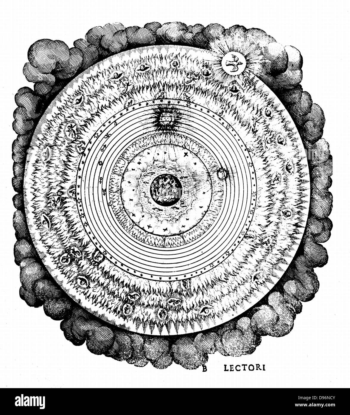 Geocentric universe showing the Earth surrounded by the spheres of water, air and fire, and by the spheres of the Stock Photo