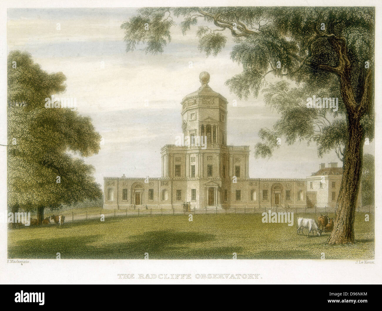 Radcliffe Observatory, Oxford, England, 1834.  Hand-coloured engraving. Stock Photo