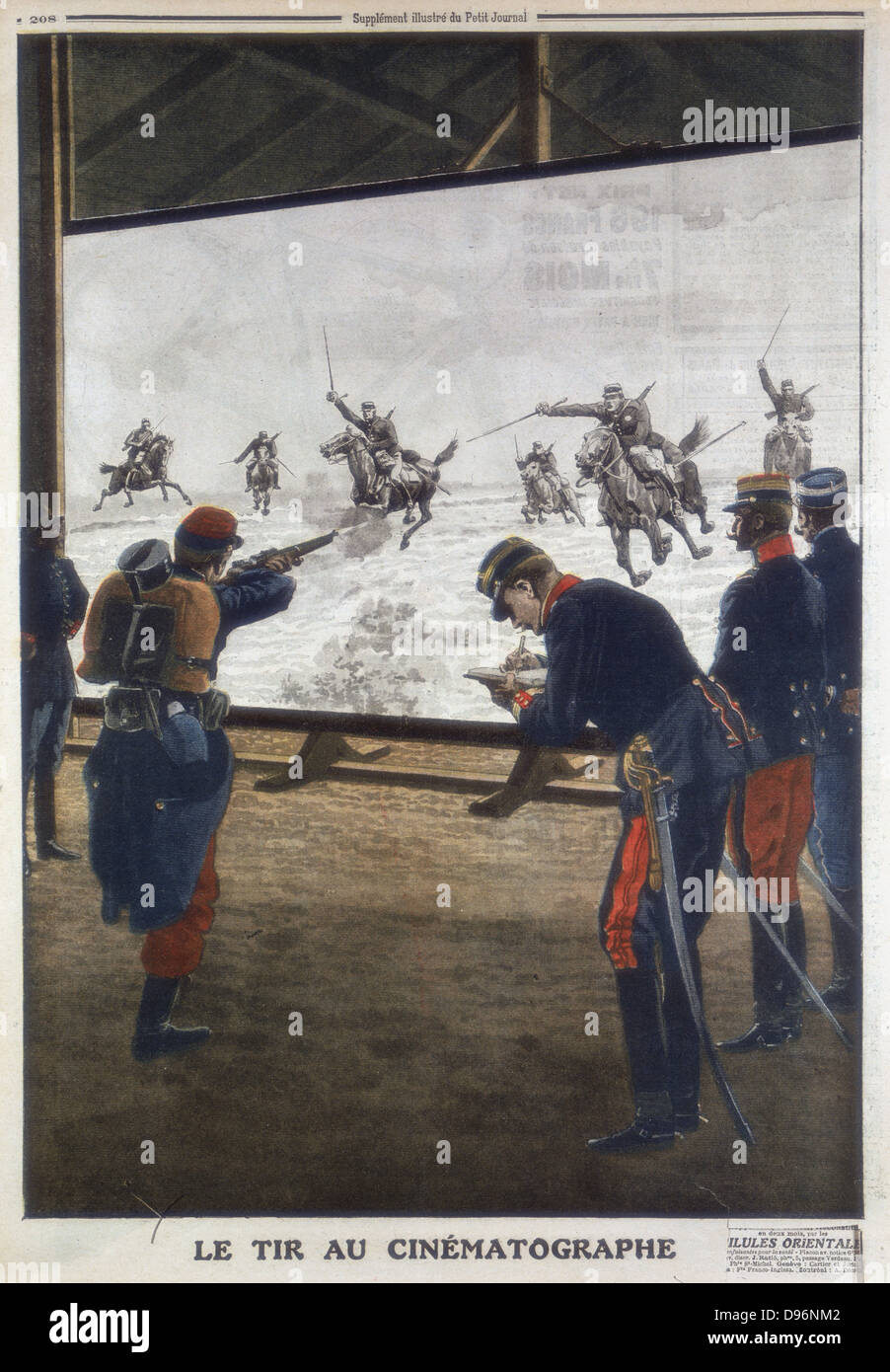 French soldiers using film of a cavalry charge for rifle practice. 1912. From 'Le Petit Journal', (Paris, - Stock Image