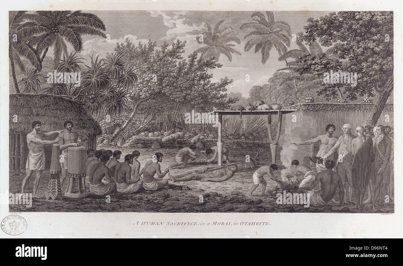 James Cook (1728-1779) English navigator, witnessing human  sacrifice in Taihiti (Otaheite) c1773 during his second Stock Photo