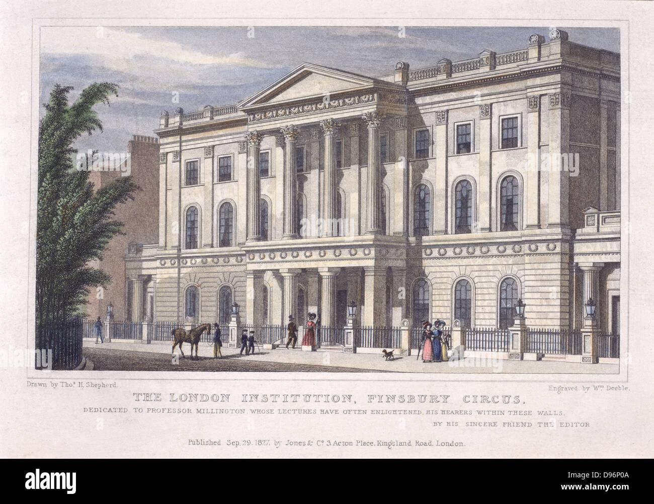 The London Institution, Finsbury Circus, founded in 1805 'for the advancement of literature and the diffusion - Stock Image