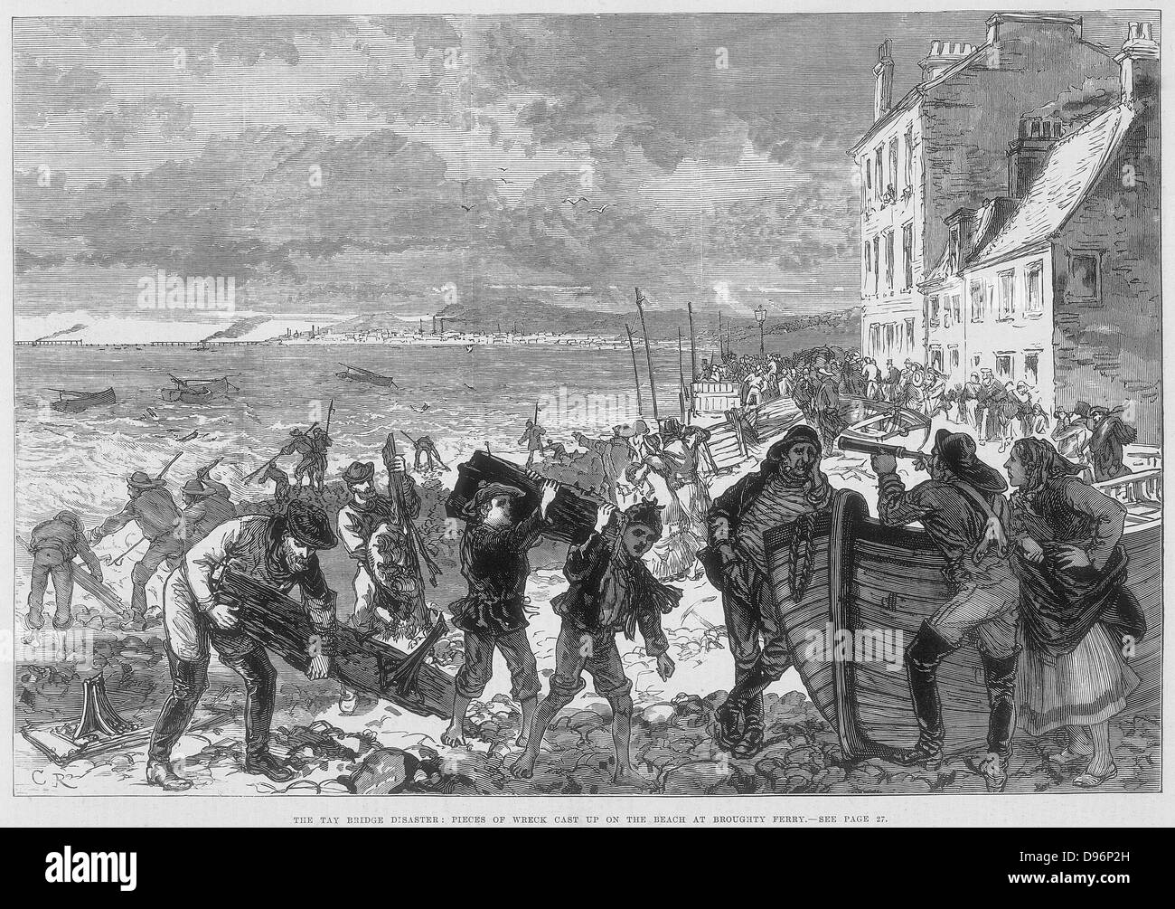 Tay Bridge disaster 28 December 1879. Wreckage on the beach at Broughty Ferry. Engraving from 'The Illustrated - Stock Image