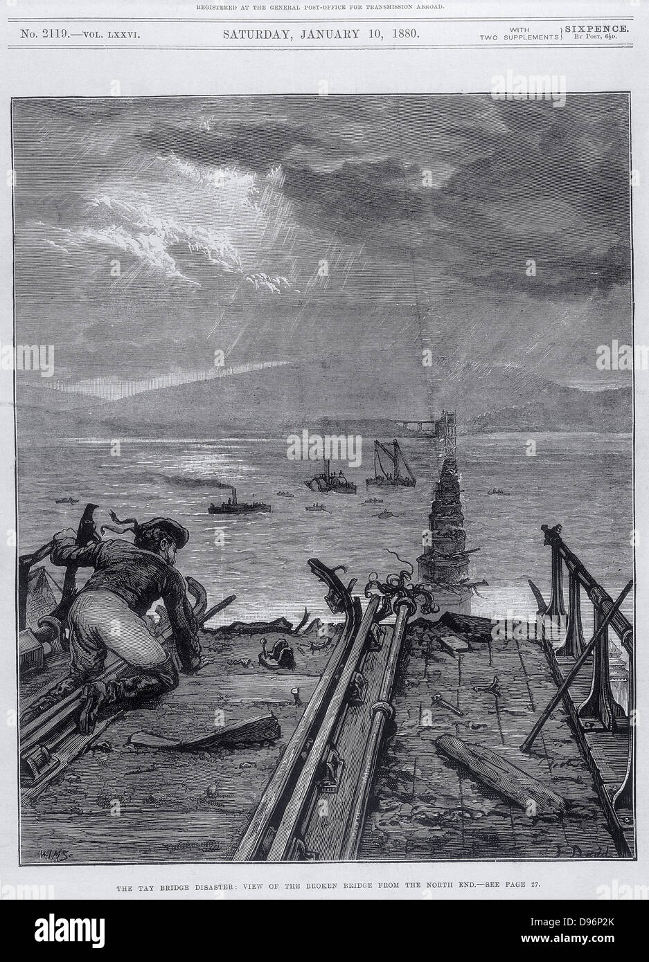Tay Bridge disaster,  28 December 1779. View of broken bridge from north end. Engraving from 'The Illustrated - Stock Image