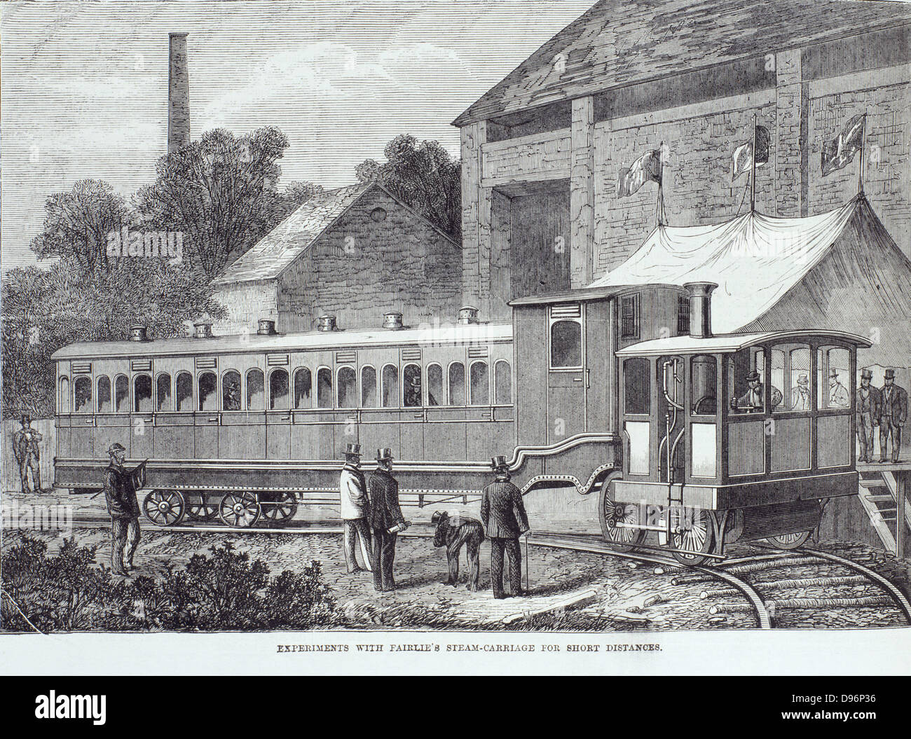 Fairlie's Steam Carriage.  Light railway steam locomotive for use on branch lines. 1869 Stock Photo