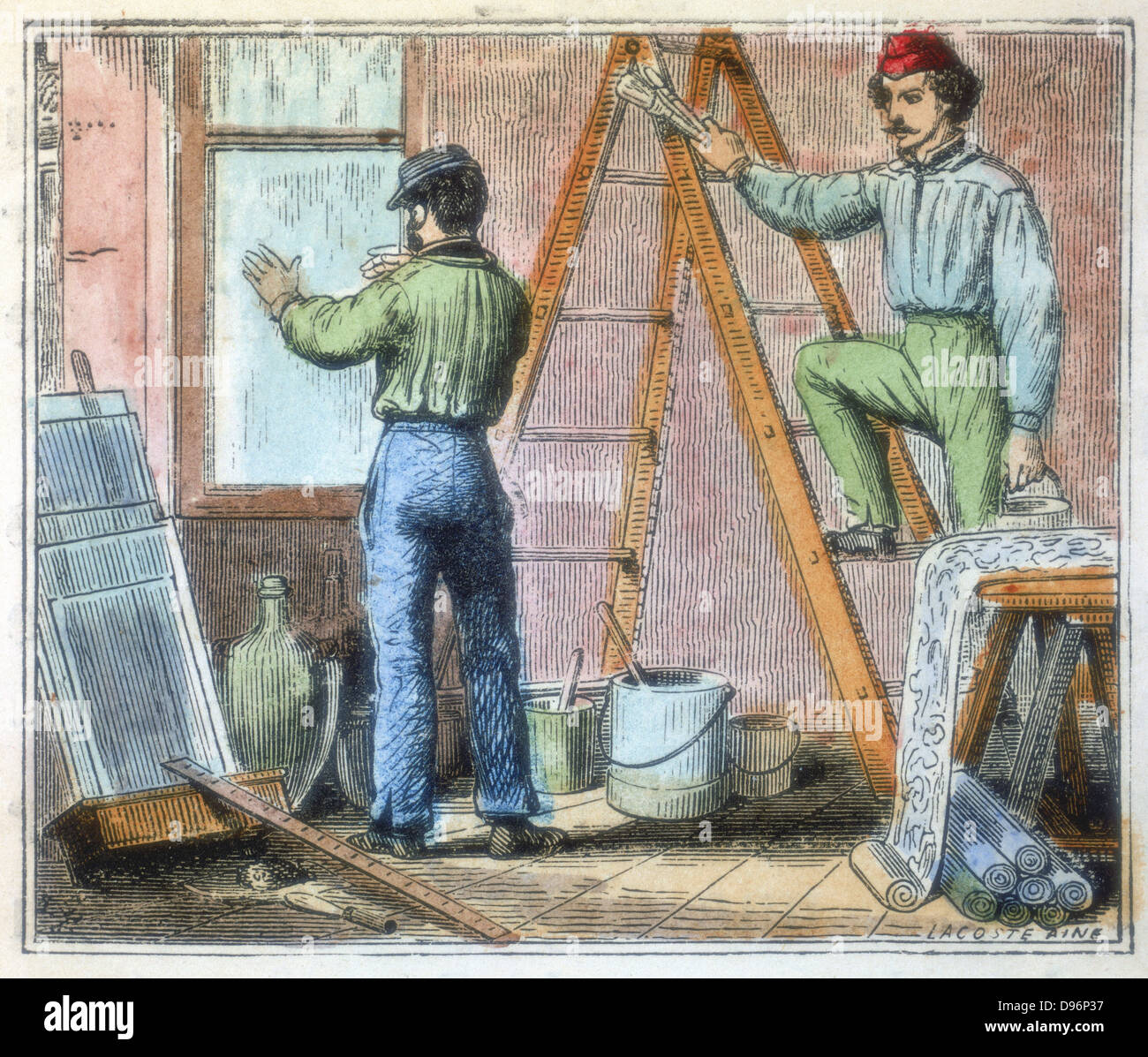 Glazier and paper hanger working in a house. From 'Alphabet des Arts et Metiers' (Paris, 1867). - Stock Image