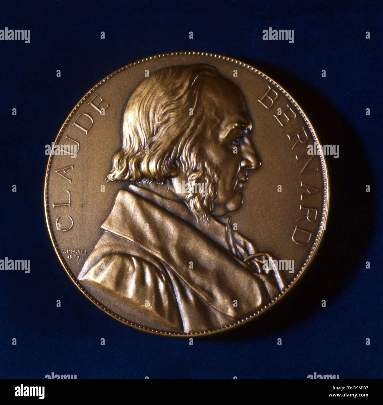 Claude Bernard, French physiologist. From the obverse of a commemorative medal. Bernard (1813-1878) investigated - Stock Image