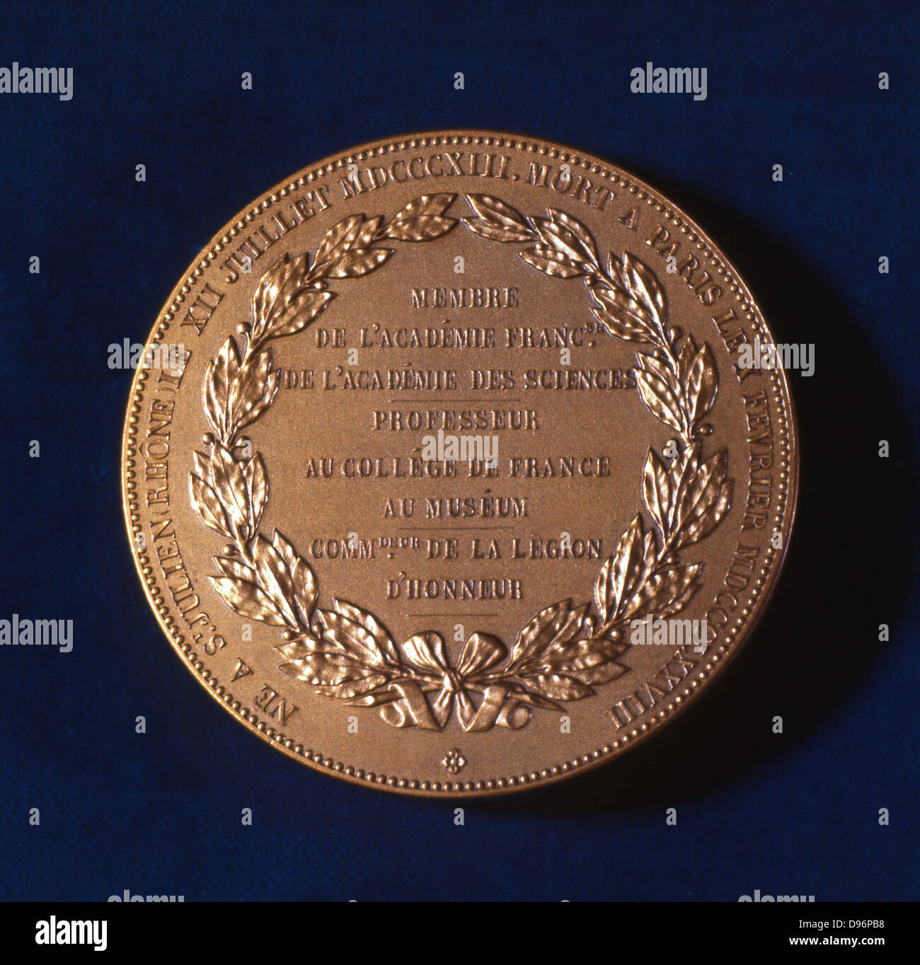 Medal commemorating Claude Bernard, French physiologist Bernard (1813-1878) investigated the liver, discovering - Stock Image