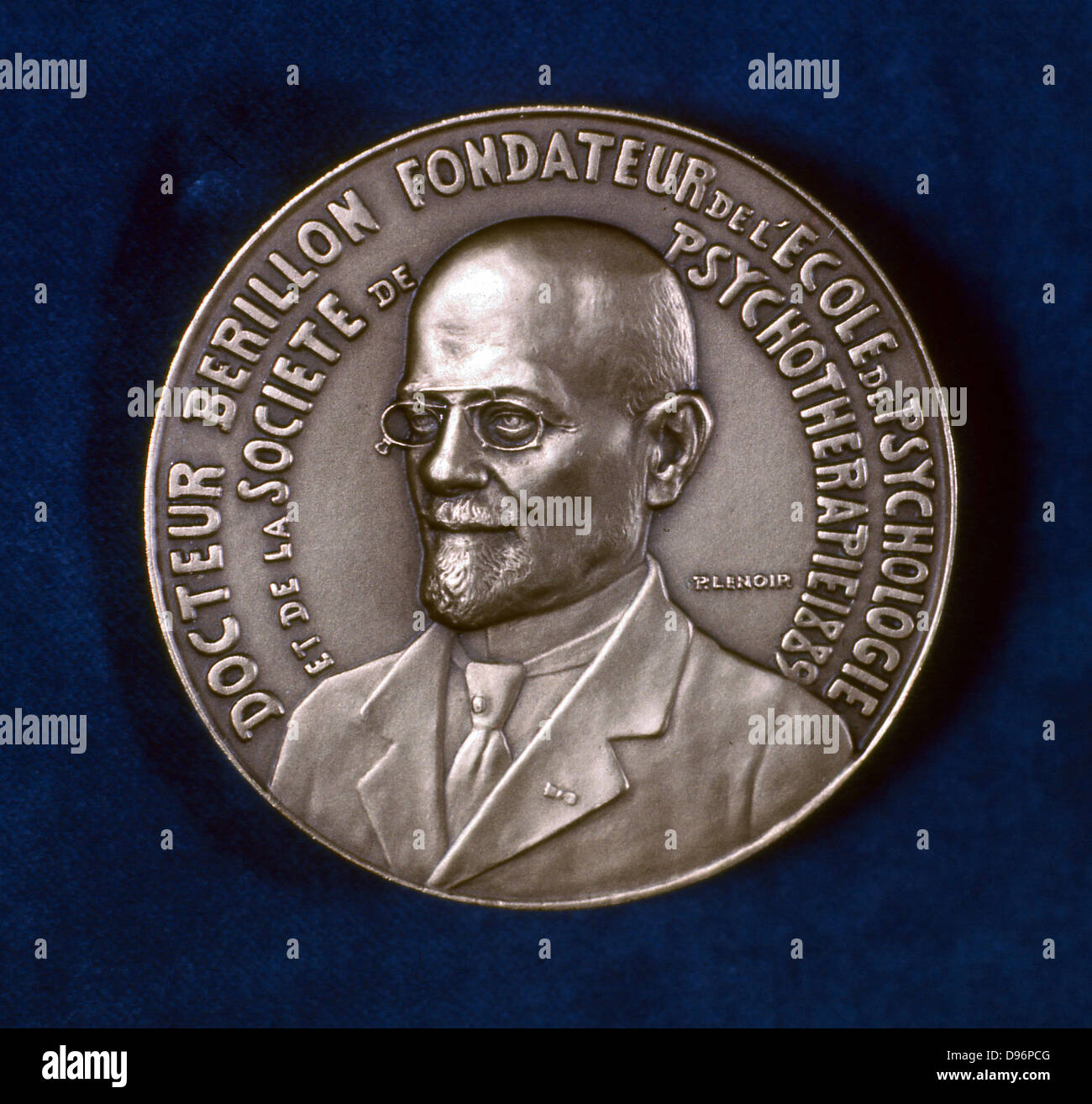 Edgar Berillon, French psychologist, 1929. Obverse of a medal struck to commemorate the 40th anniversary of Berillon's - Stock Image