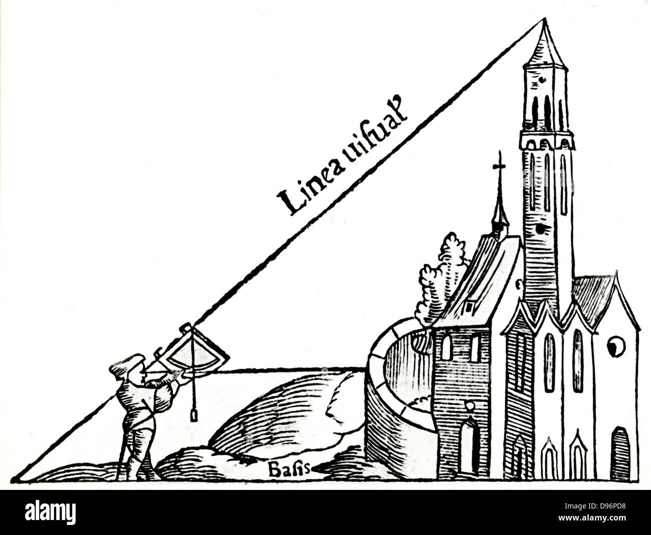 Using a quadrant with a plumb bob to calculate the height of a tower by triangulation. From Sebastian Munster 'Rudimenta Stock Photo