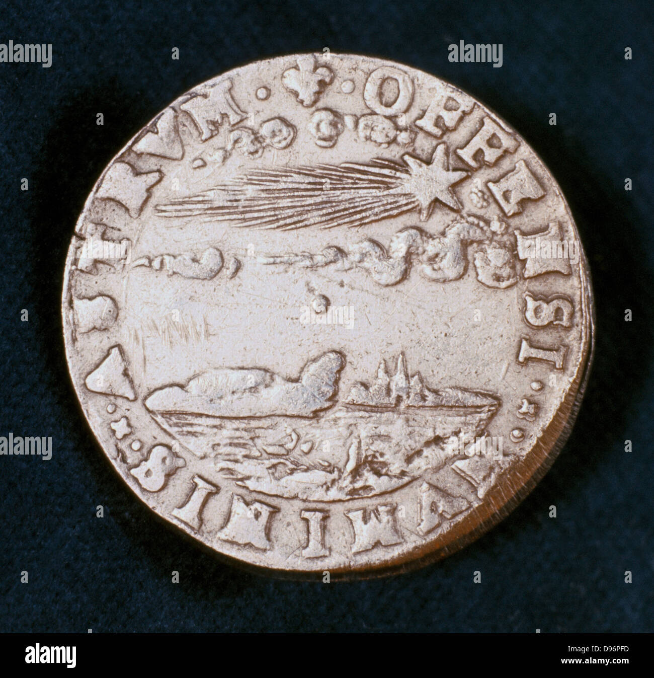 Obverse of medal commemorating the bright comet of 1577. Known as Brahe's comet, this is the comet which convinced - Stock Image