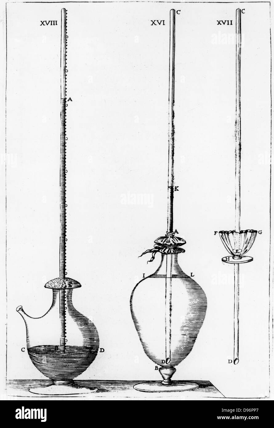 Experimental barometers used by the Accademia dell Cimento.  Fig. XVIII is a mercury barometer. From 'Saggi de naturali Stock Photo