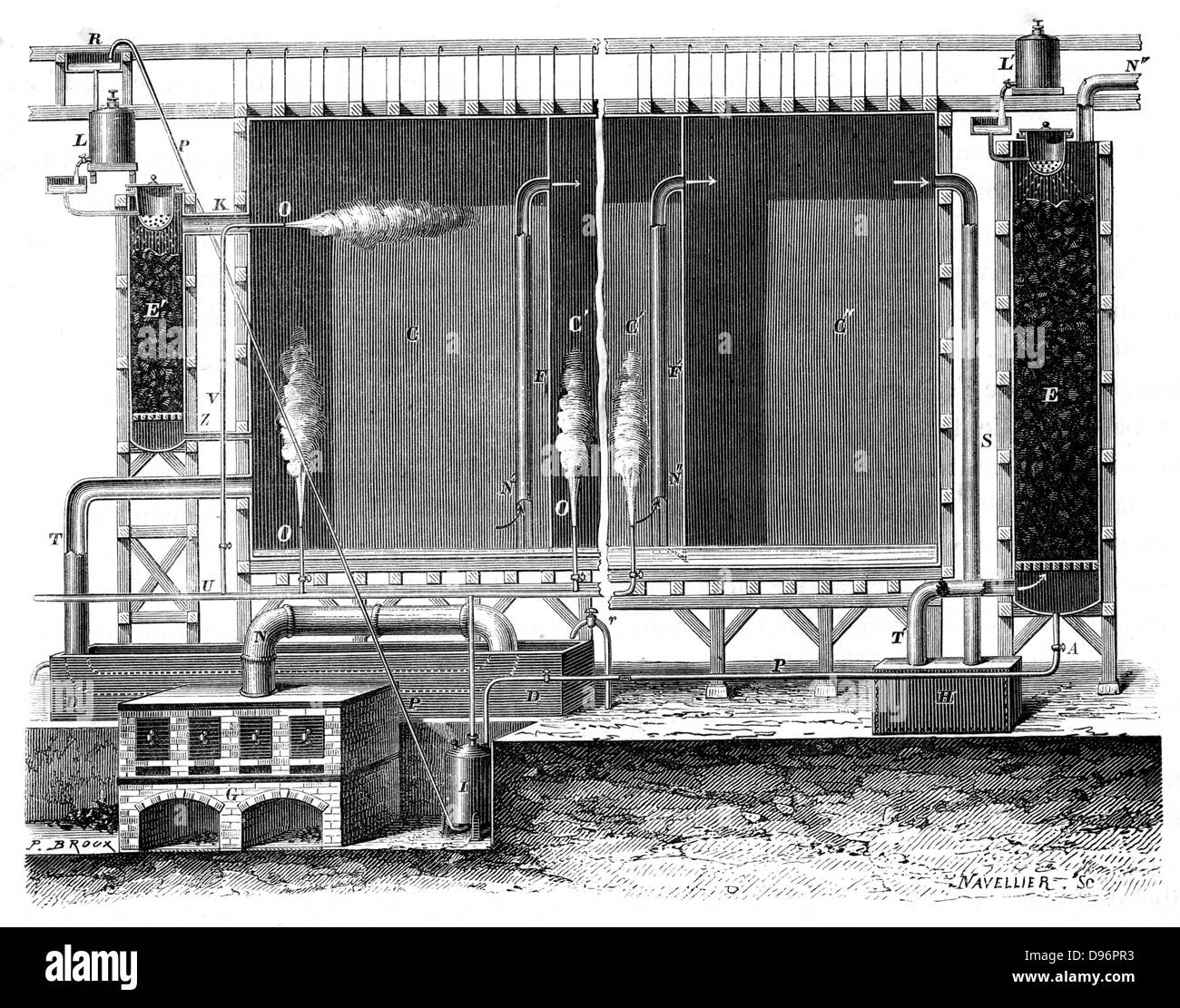 Sectional view of Gay-Lussac's lead chambers and absorption towers, 1870.  These were for the large-scale production - Stock Image