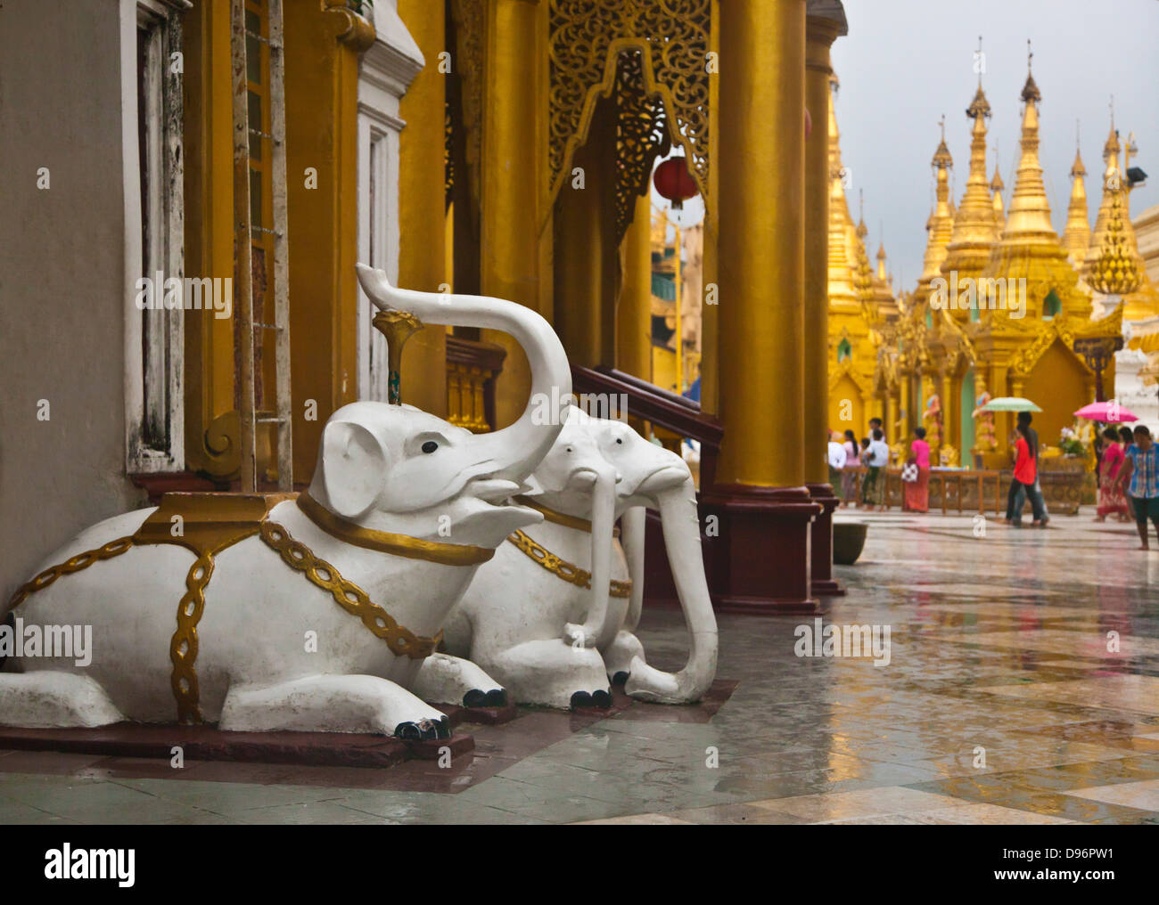 Good luck ELEPHANT STATUES at the SHWEDAGON PAYA or PAGODA which dates from 1485 - YANGON, MYANAMAR Stock Photo