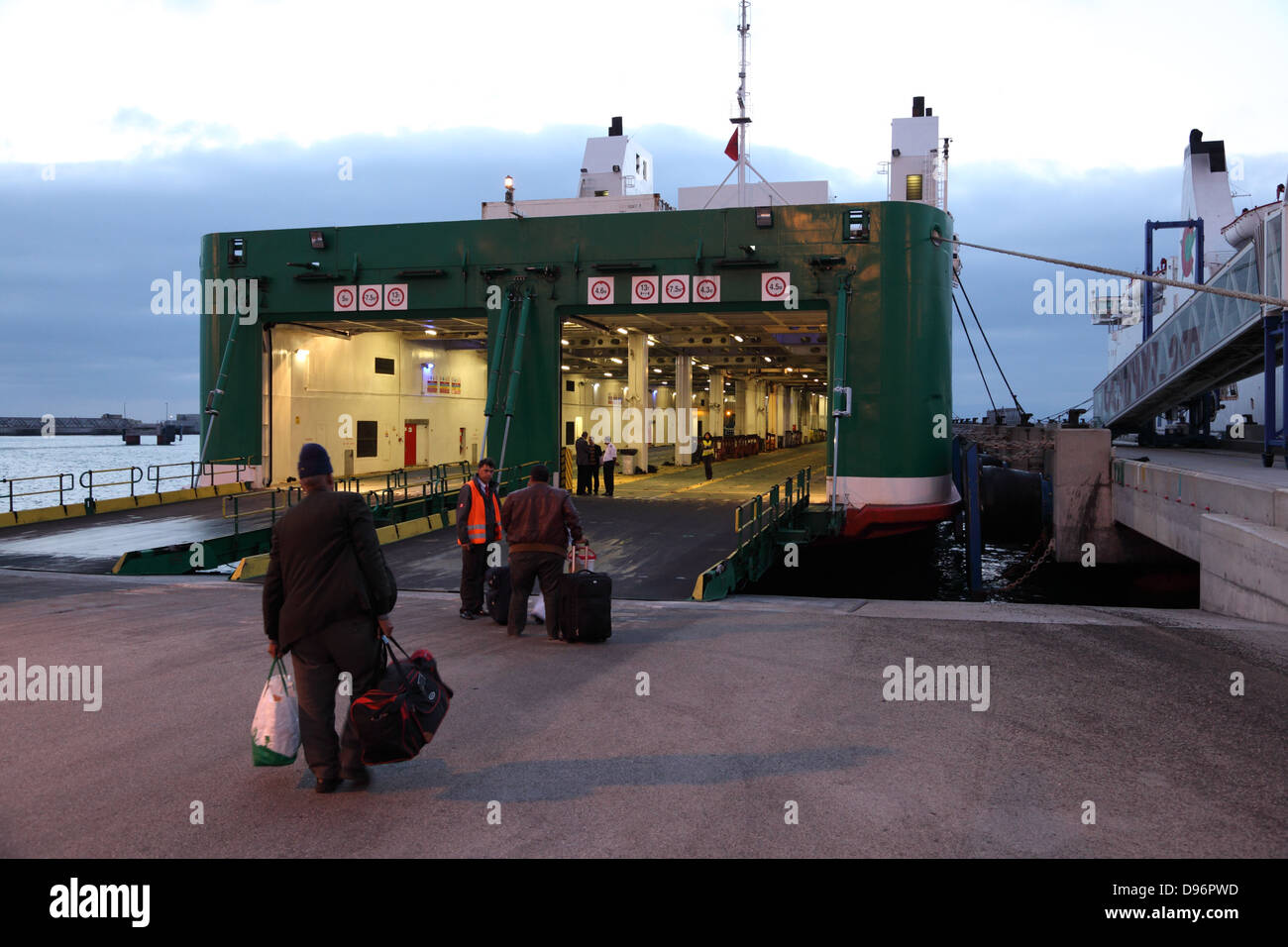 Ferry boarding in Tangier Med, Morocco - Stock Image