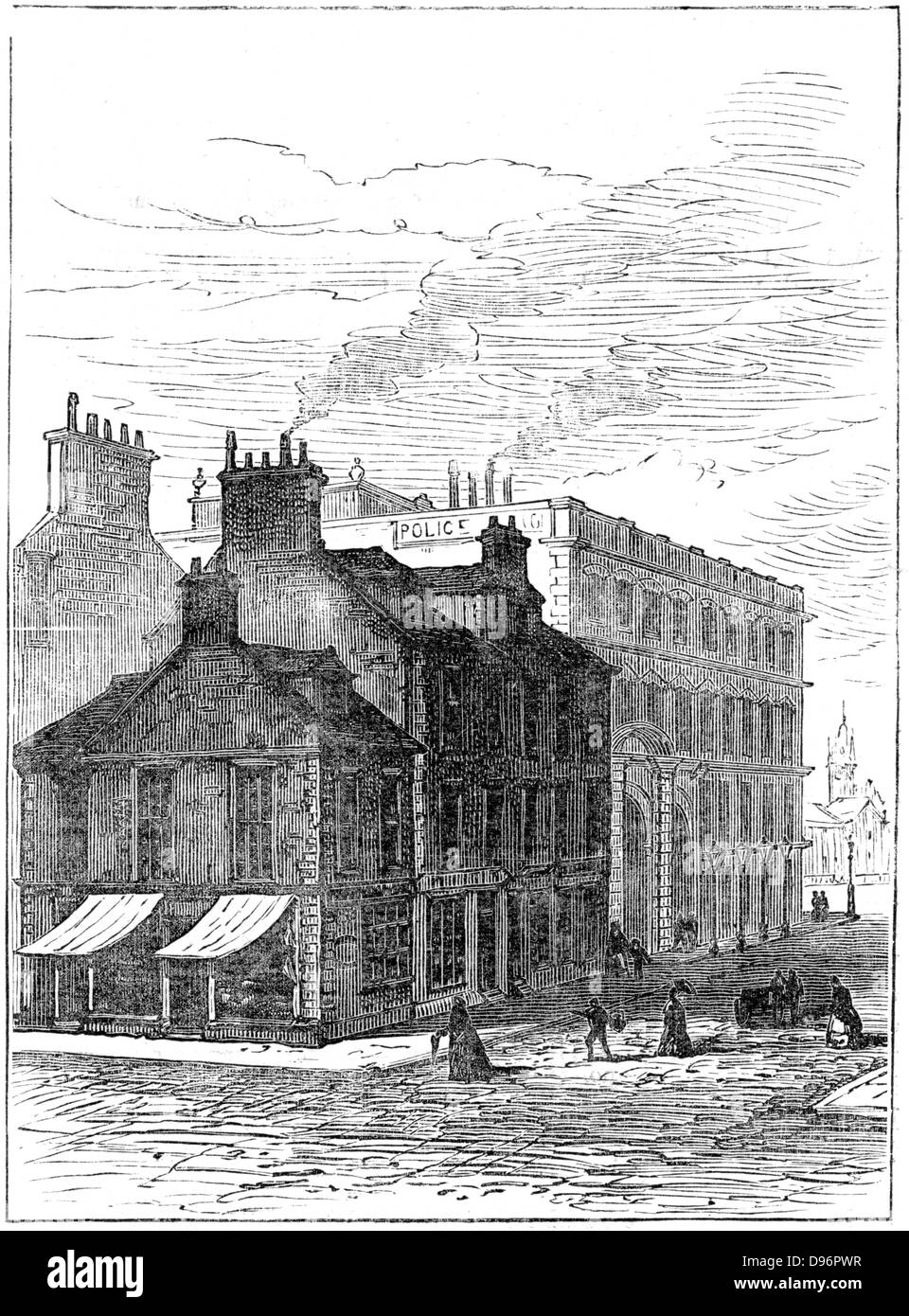 Birthplace of James Watt shortly before it was demolished in 1887.  Watt (1736-1819), Scottish engineer and inventor, - Stock Image