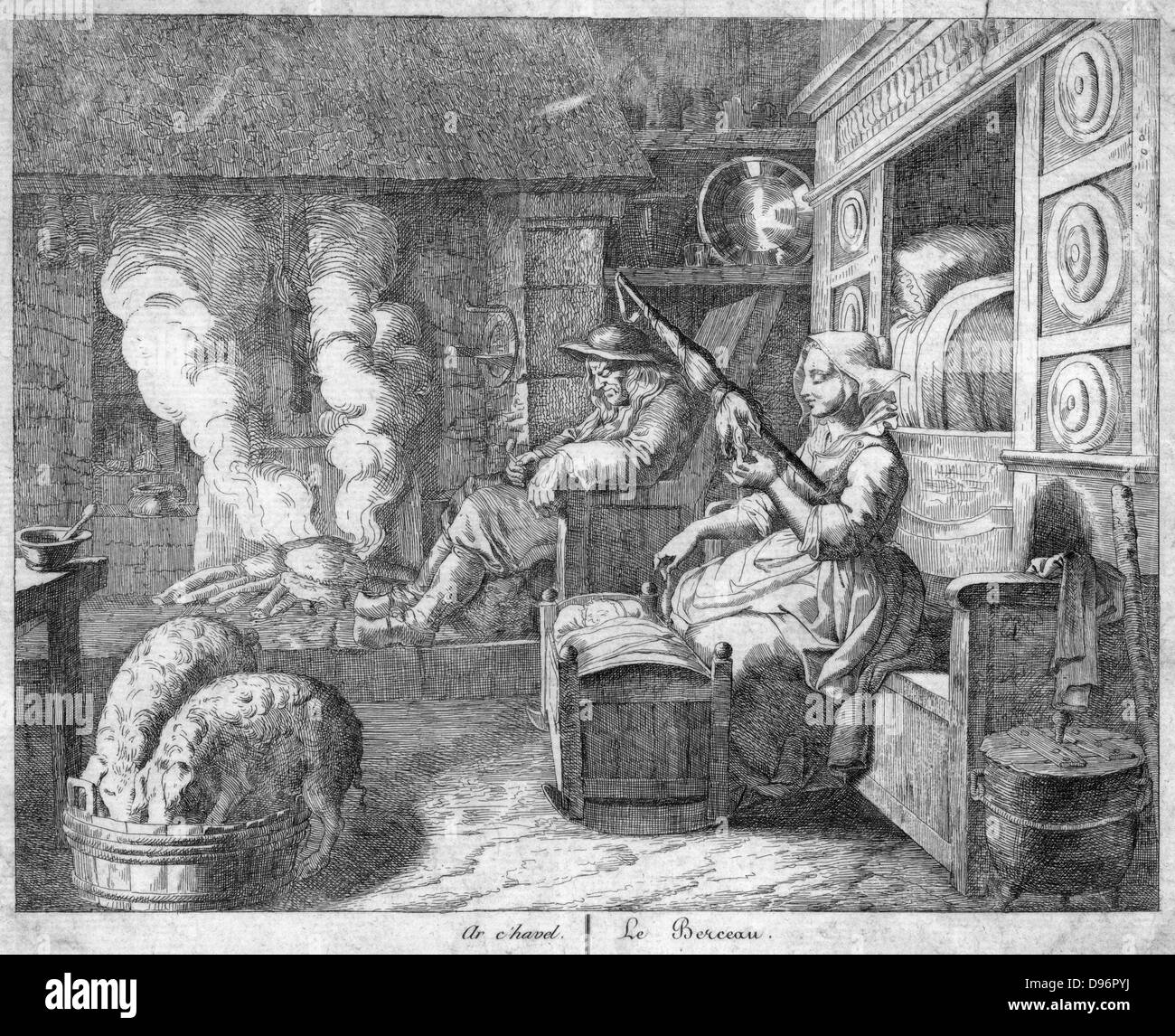 Peasant cottage interior, 17th century.  Husband, wearing wooden clogs, snoozes in chimney corner by fire on which - Stock Image