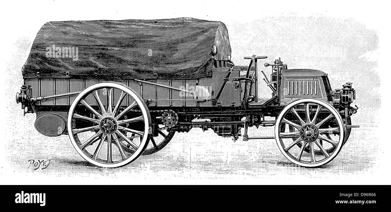 Army truck by Daimler, with 4 cylinder 12 hp engine 1904. Engraving. - Stock Image