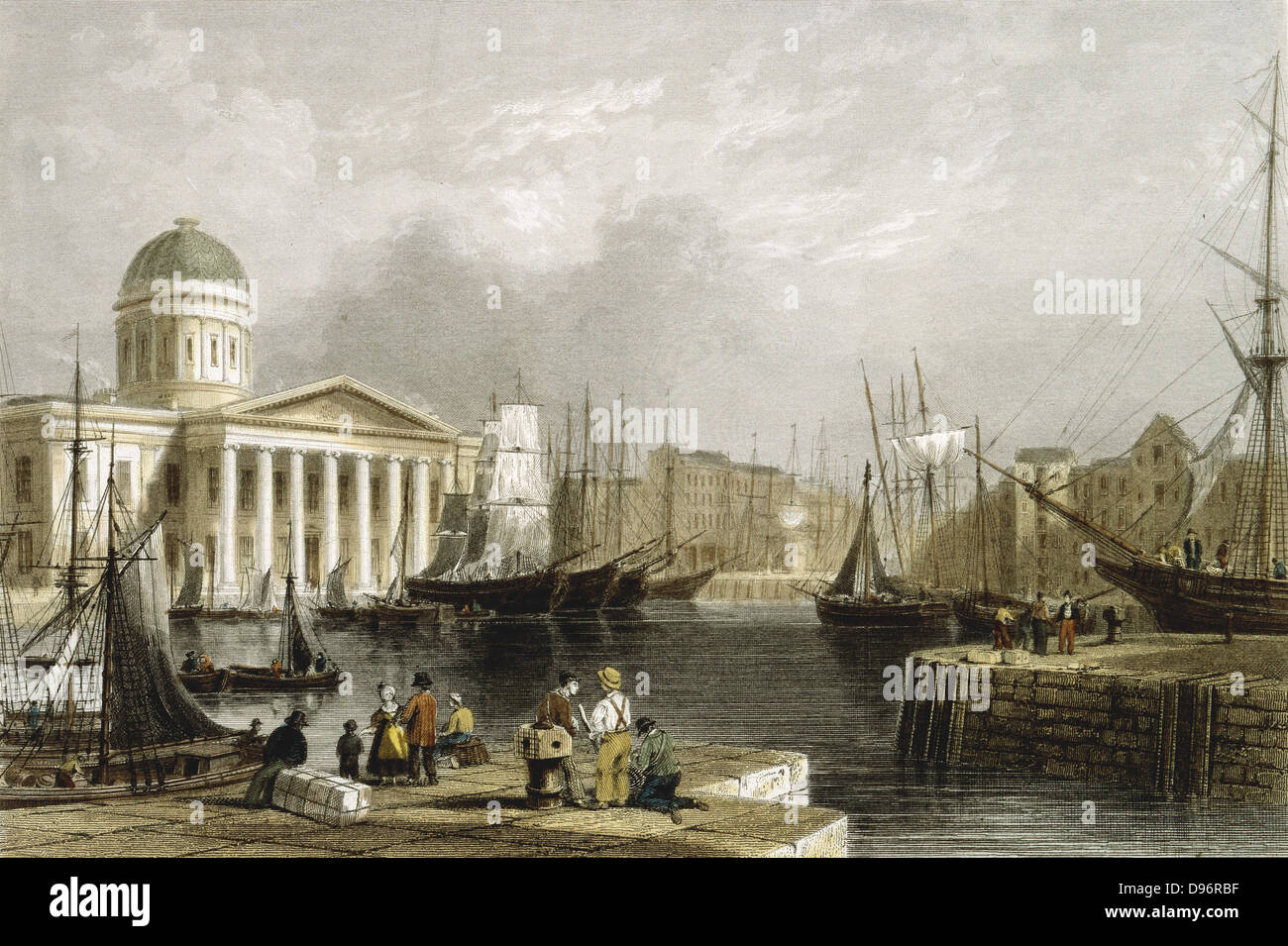 Liverpool: Canning Dock, showing the Custom House, sailing vessels in the basin and warehouses on the dockside. - Stock Image