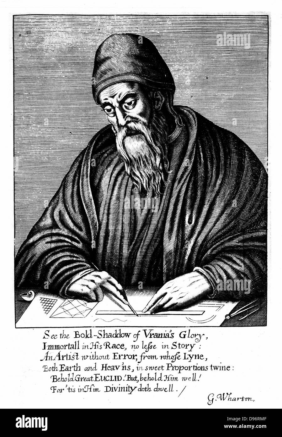 Euclid (active 300 BC) Ancient Greek mathematician. Frontispiece of an edition of his 'Elements of Geometry' - Stock Image