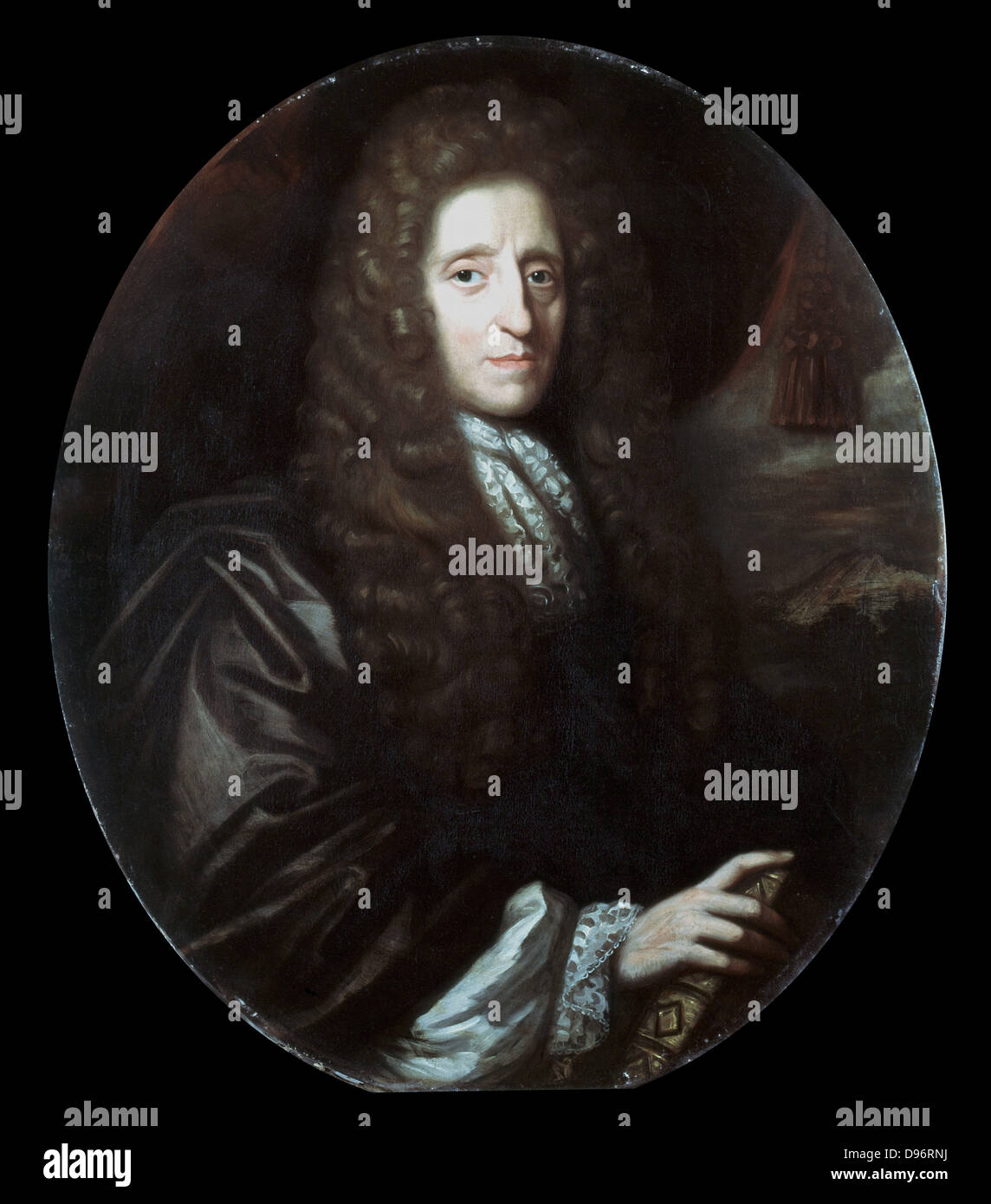 John Locke (1632-1704) English philosopher. Author of 'Essay Concerning Human Understanding' (1690).  Oil - Stock Image