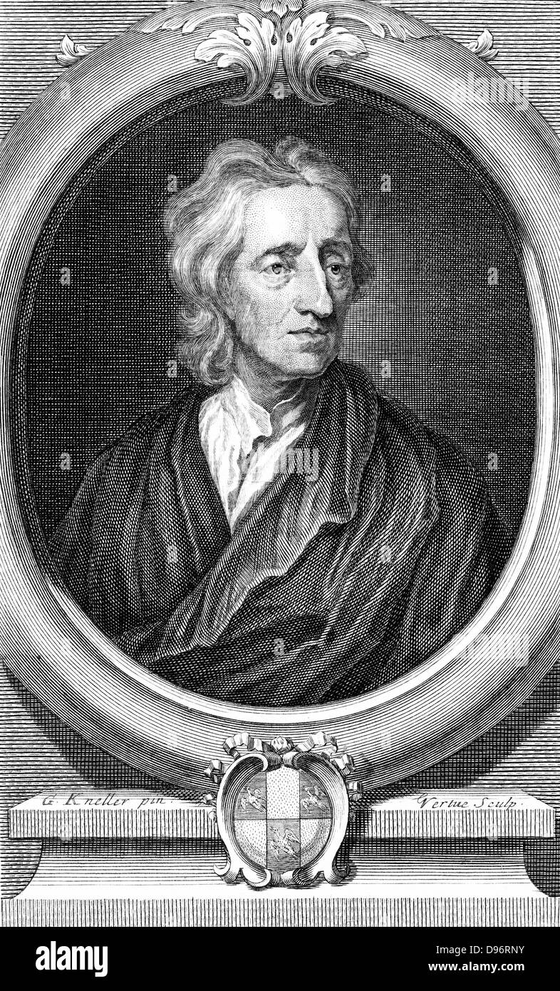 John Locke (1632-1704) English philosopher. Engraving by Vertue after portrait by Kneller. - Stock Image