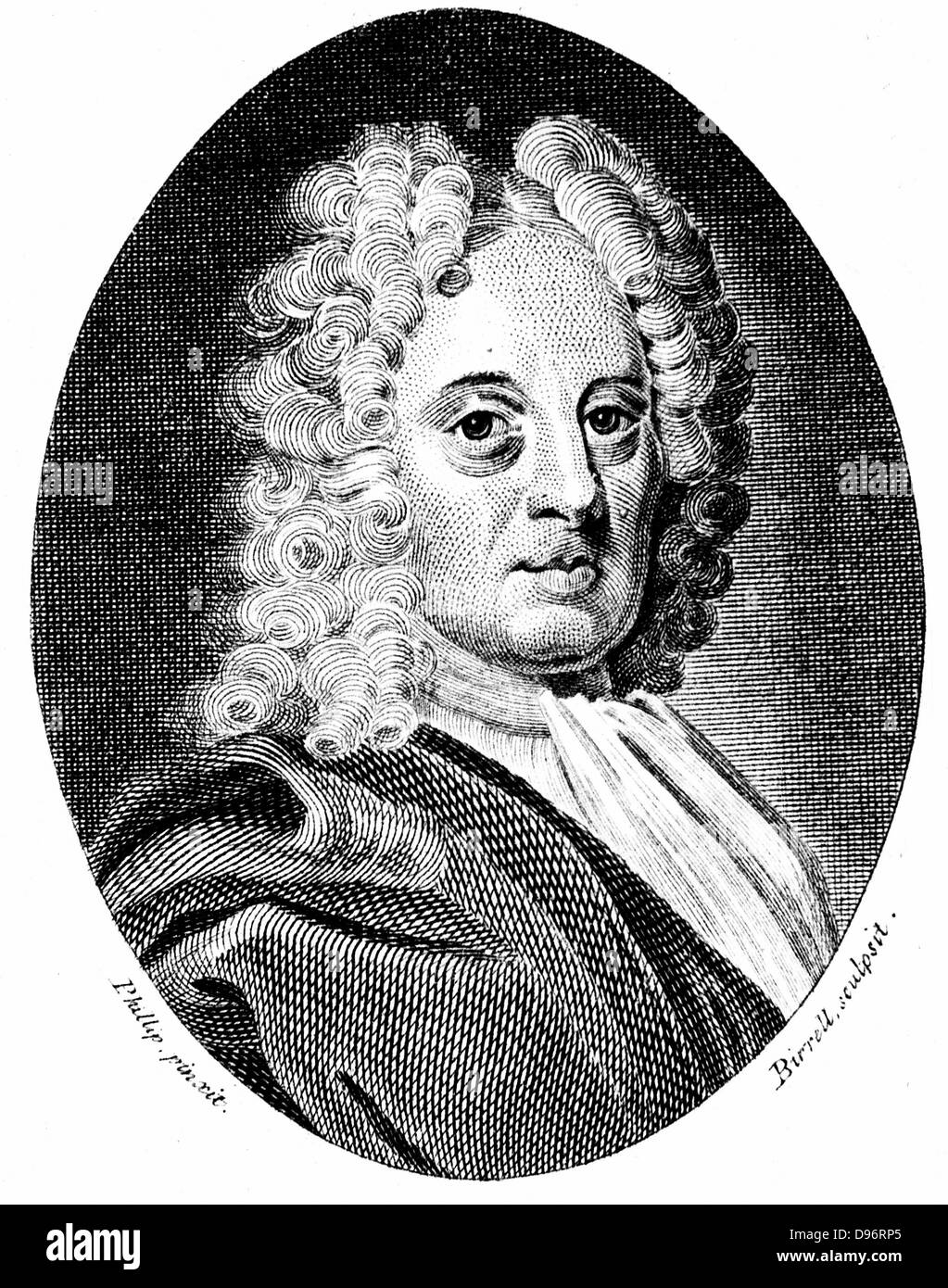 Edmond Halley (1656-1742) English astronomer and mathematician. Engraving after portrait of Richard Phillips painted - Stock Image