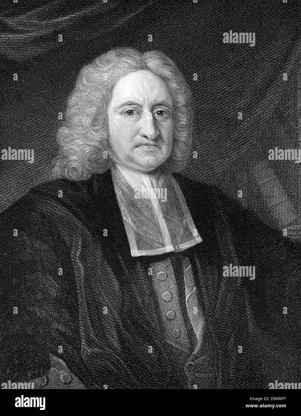 Edmond Halley (1656-1742) English astronomer and mathematician. Engraving Stock Photo