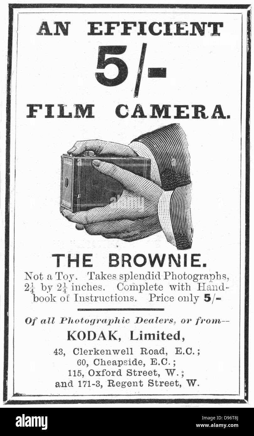 Advertisement for Kodak 'Brownie' camera from 'The Illustrated London News', 4 August 1900. Engraving. - Stock Image
