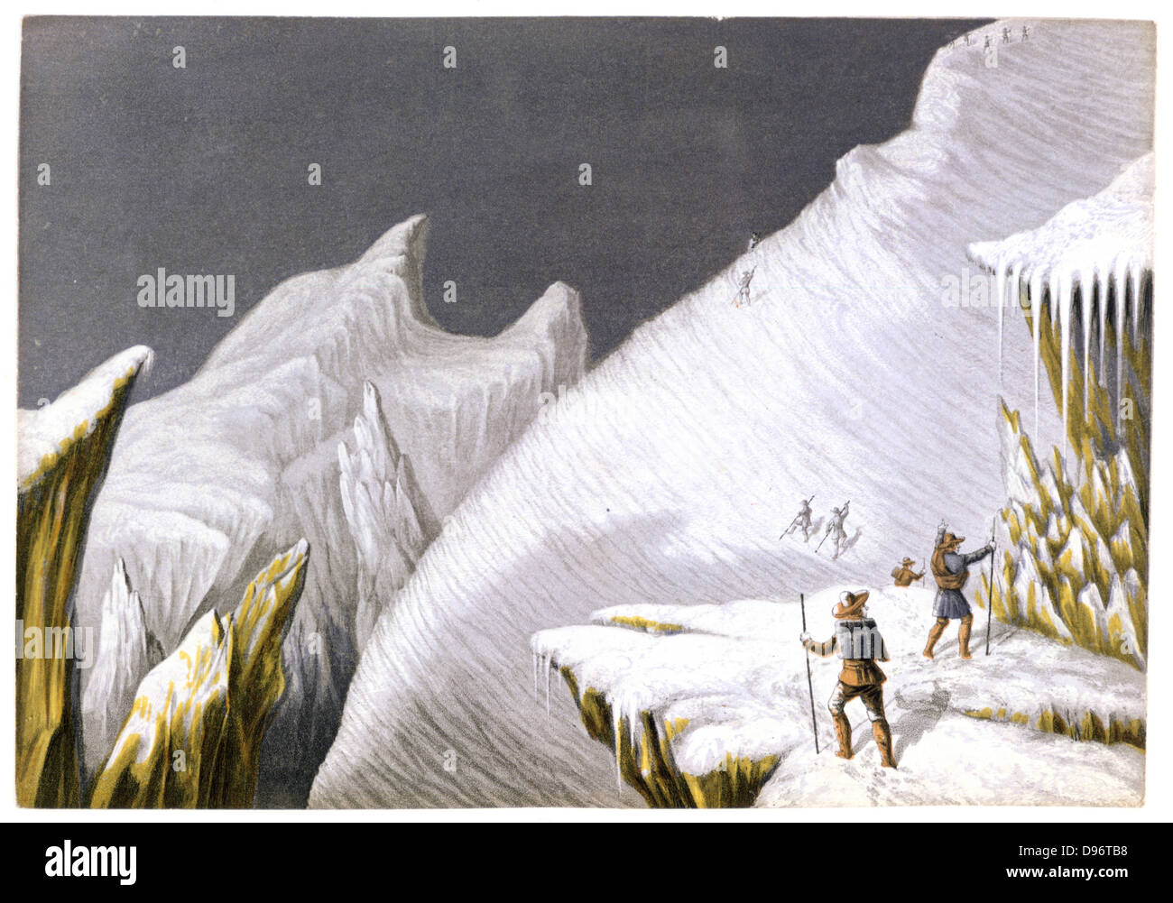 Mountaineering in the mid-nineteenth century. The Mur de la Cote: one of set of four Baxter prints of 'The Ascent - Stock Image