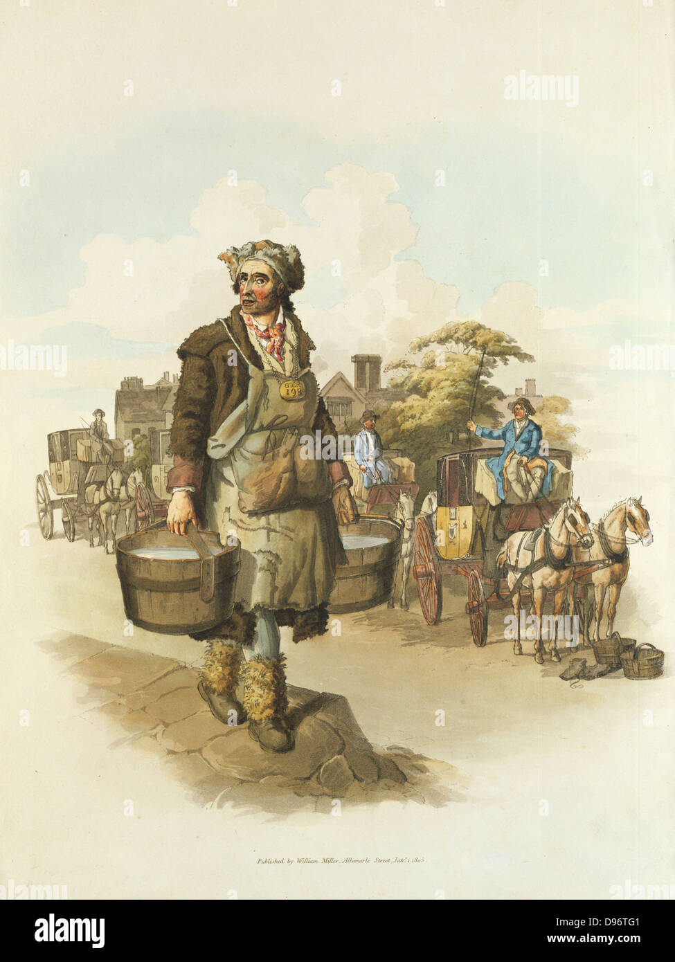 Water carrier with buckets, and hackney cab drivers watering their horses. From William Henry Pyne 'The Costume - Stock Image