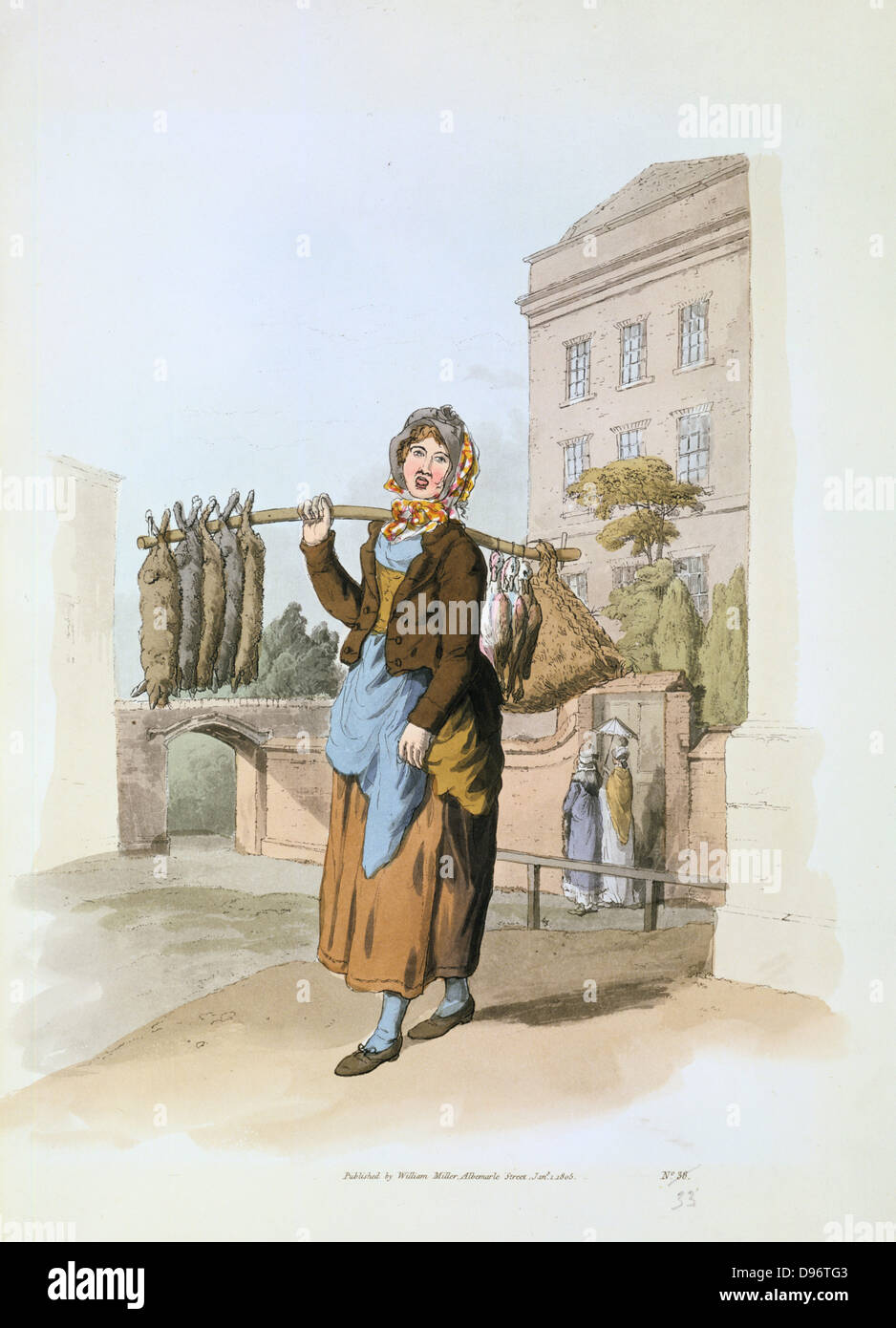 Woman selling rabbits in a town street. From William Henry Pyne 'The Costume of Great Britain', London, - Stock Image