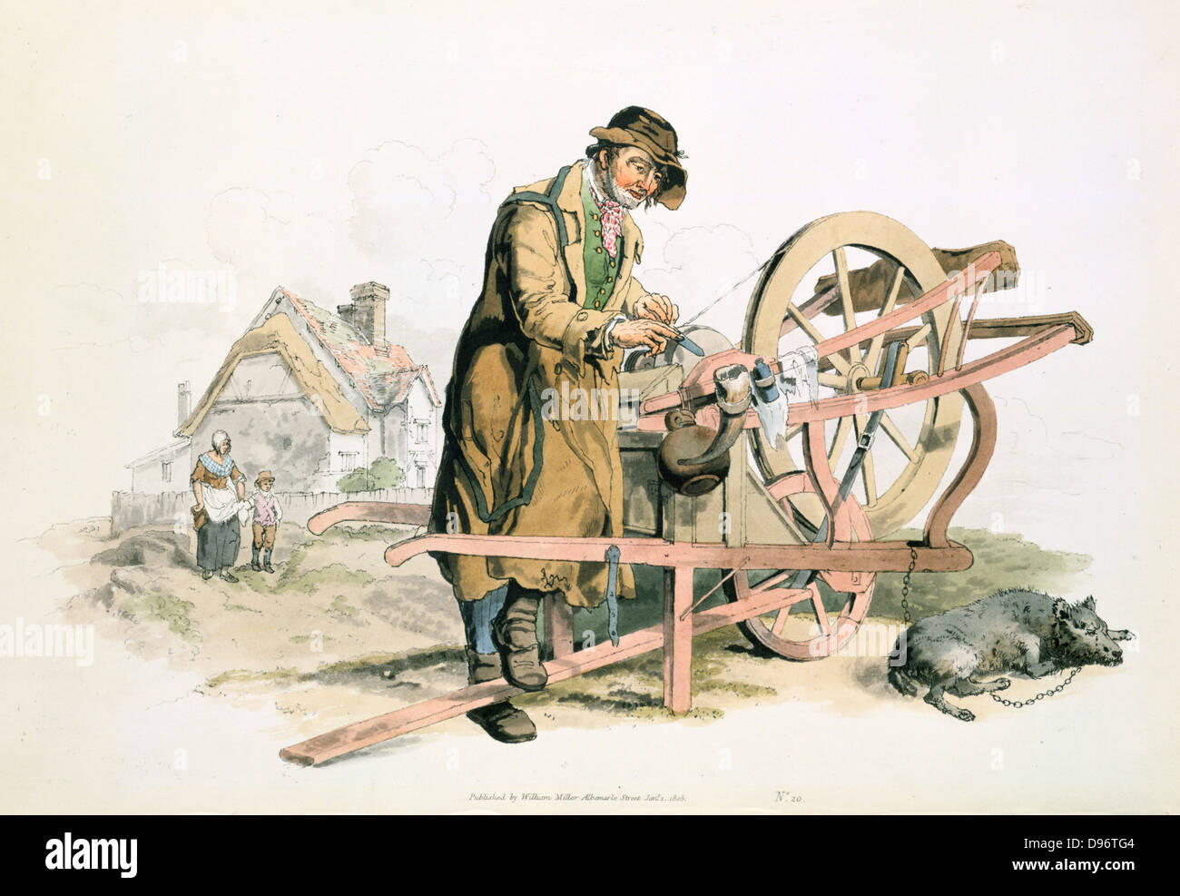 Itinerant knife grinder using treadle to turn his grindstone. His pet dog lies beside the barrow. From William Henry - Stock Image