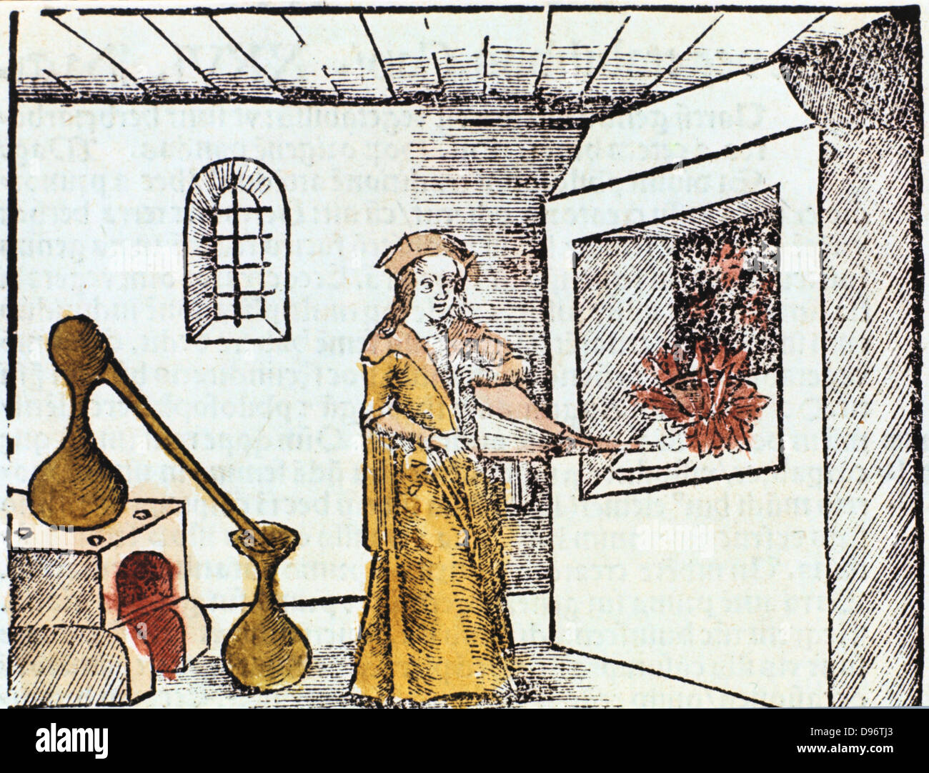 The Chemist, 1508, The Chemist or Alchemist is using bellows to heat up the fire under under a crucible. Behind - Stock Image