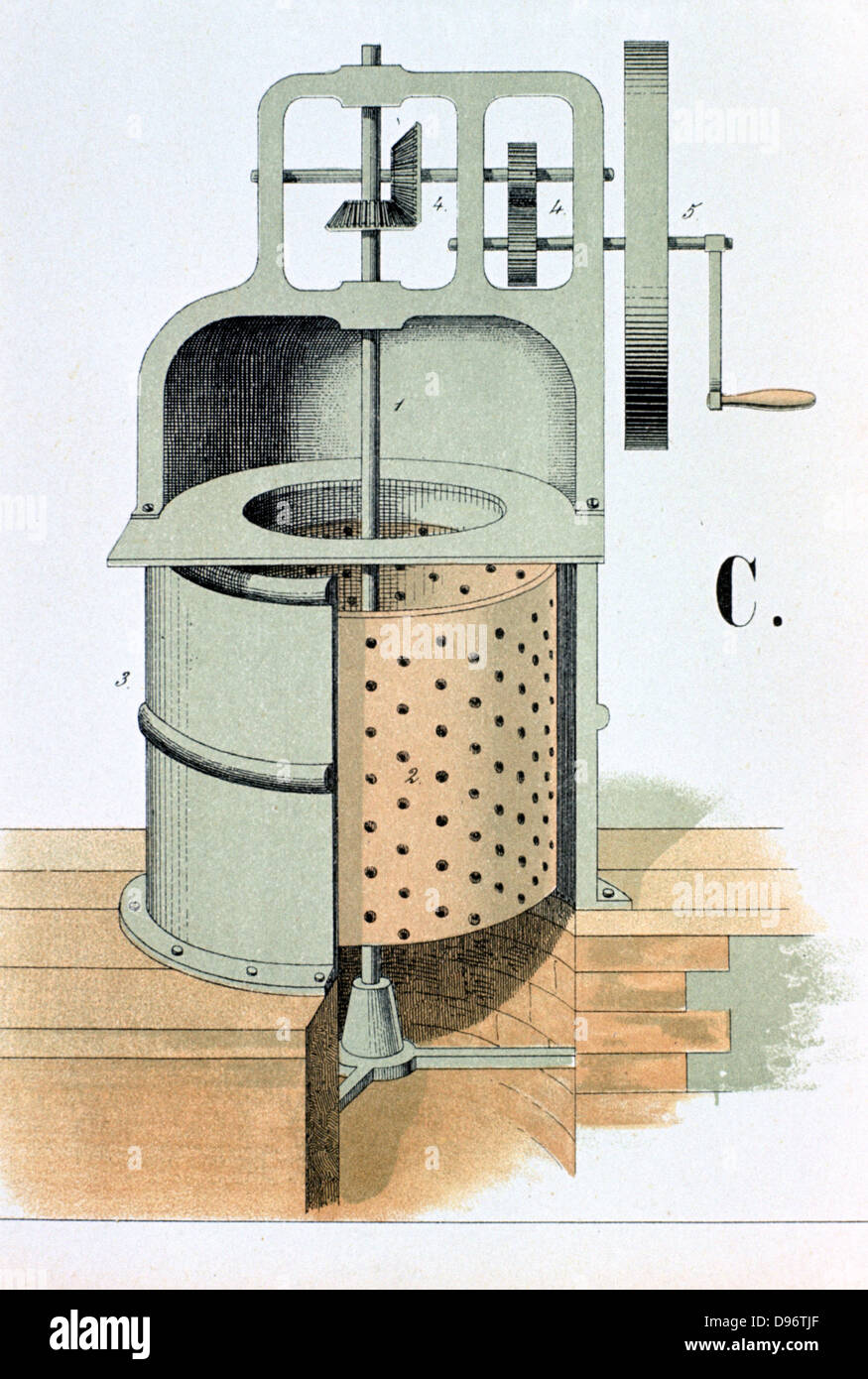 Centrifuge, 1882. Used to separate liquids from solids, or liquids from liquids of different density such as cream - Stock Image
