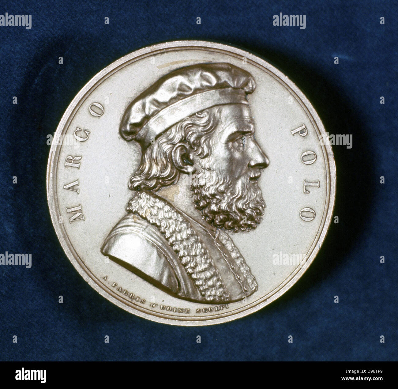 Marco Polo (1254-1324) Venetian traveller and merchant. Portrait from obverse of commemorative medal. - Stock Image