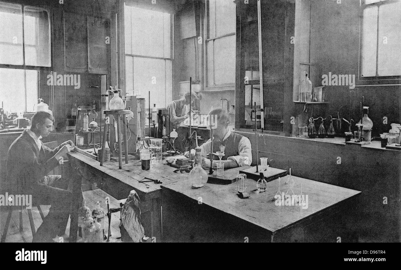 Laboratory at Thomas Firth & Son's Norfolk Works, Sheffield c1900 - Stock Image