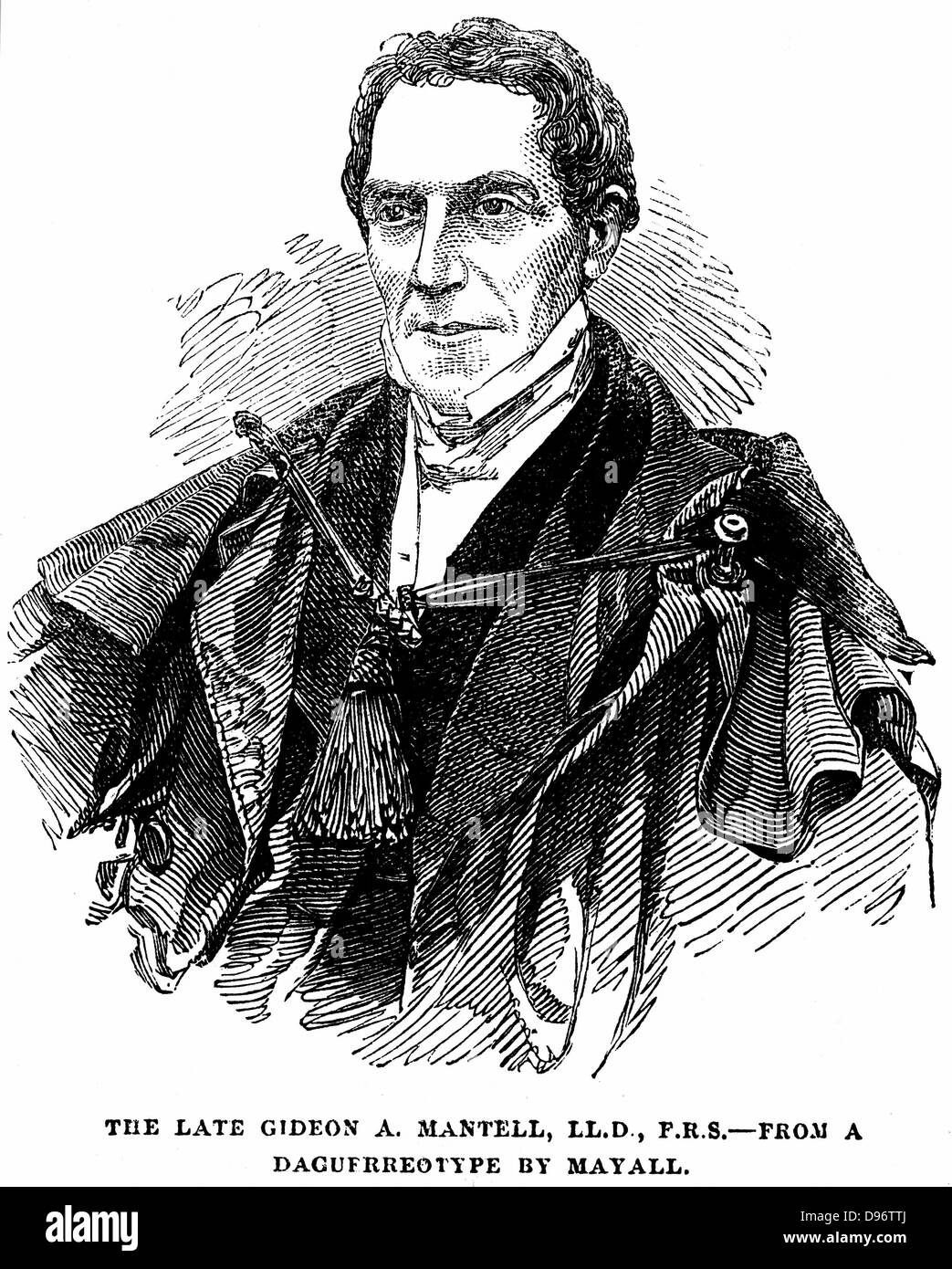 Gideon Algernon Mantell (1790-1852) English geologist who, in 1820, discovered the Iguanodon and deduced from its - Stock Image