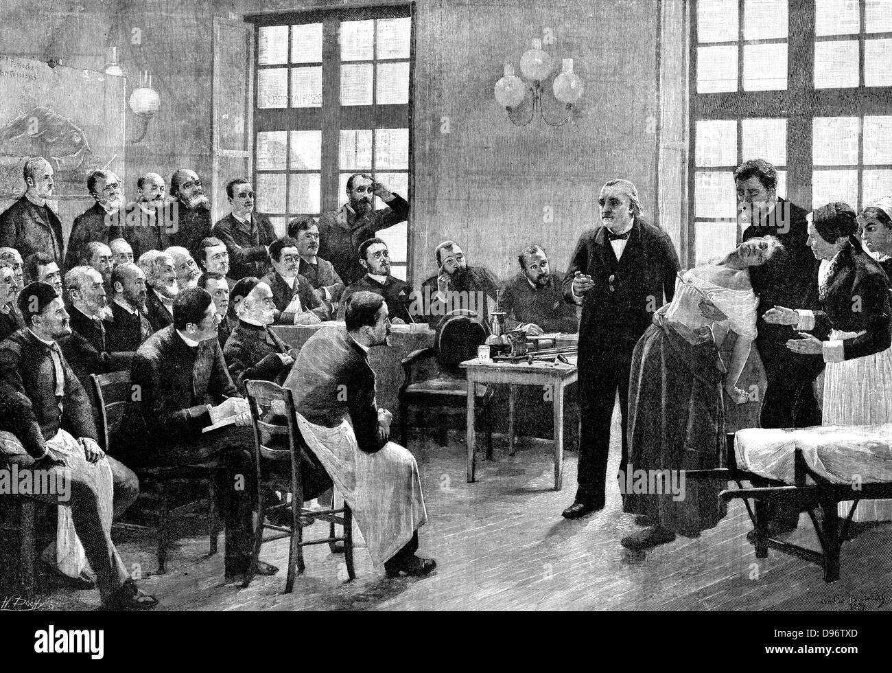 Jean Martin Charcot (1825-1893) giving a clinical lecture at the  Salpetriere. Engraving after painting by Andre Brouillet. Dr
