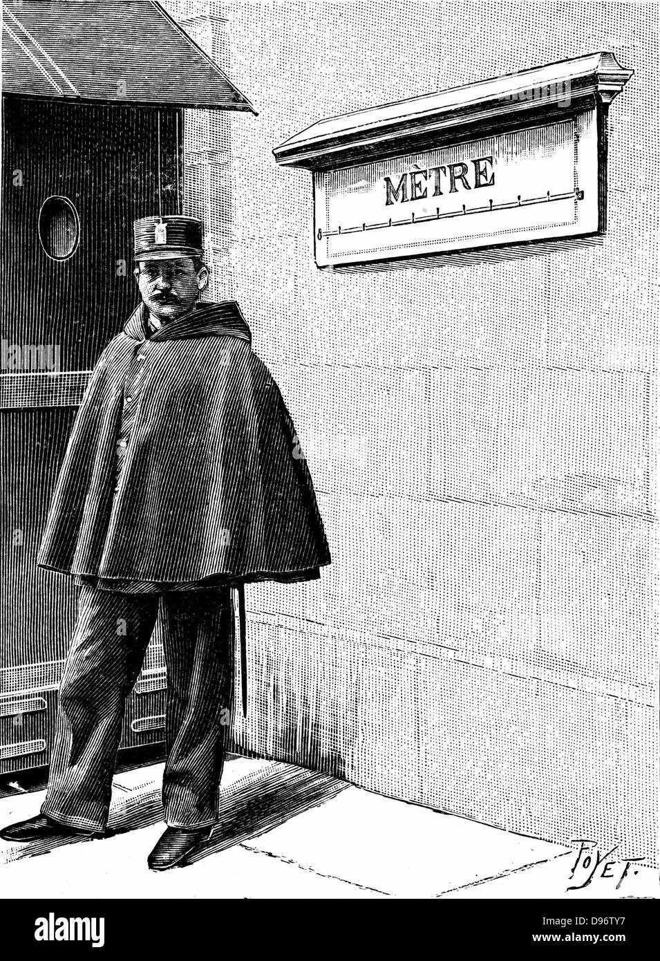 Standard Metre in the Petit Luxembourg, Paris. Set up when Metrification introduced by the French National Assembly Stock Photo