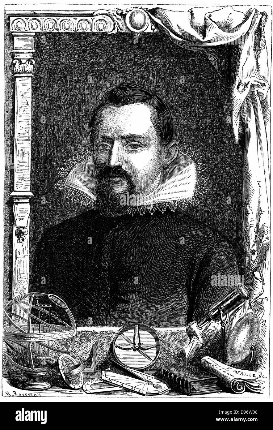 Johannes Kepler (1571-1630) German astronomer. Wood engraving, Paris c1870 - Stock Image