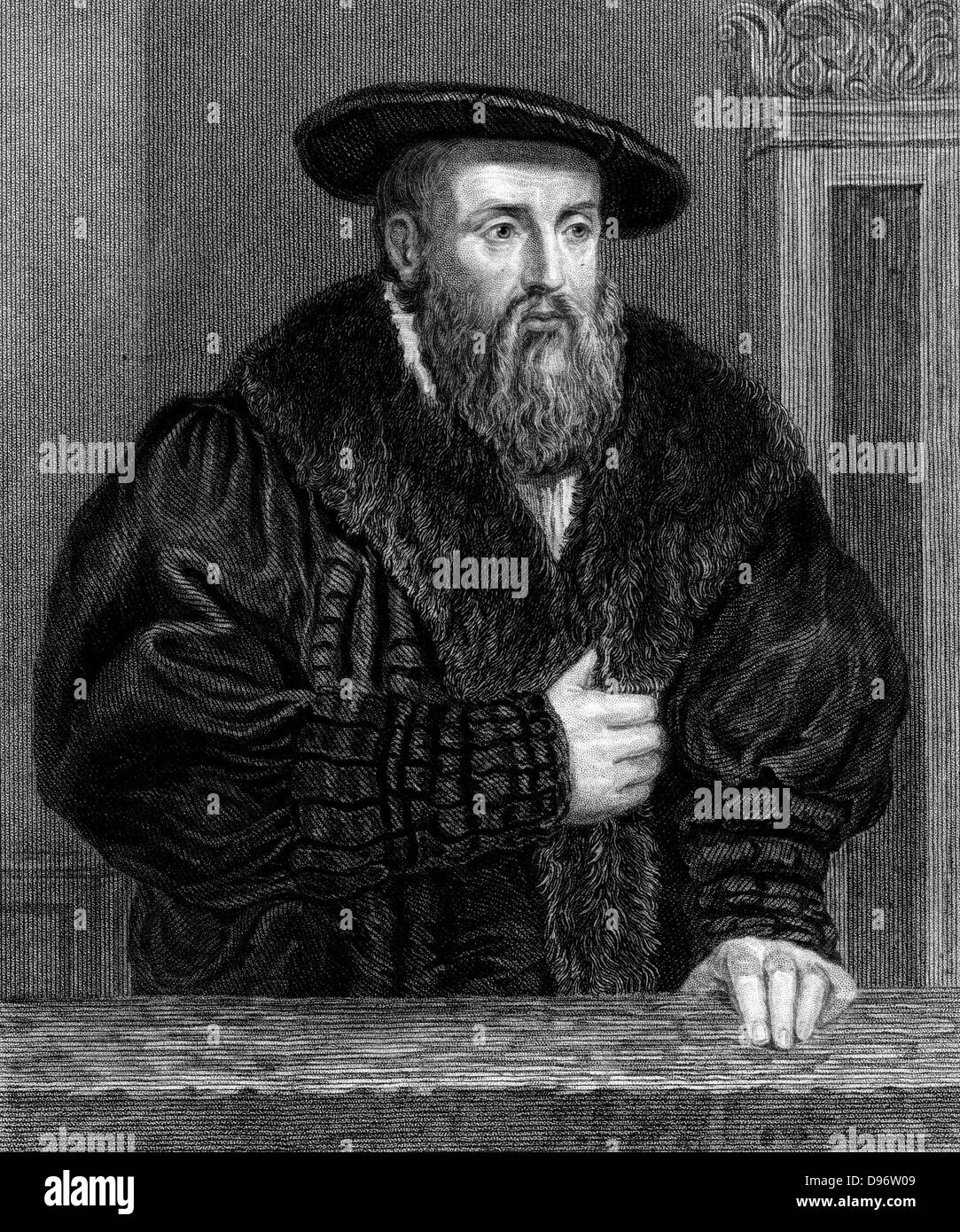 Johannes Kepler (1571-1630) German astronomer. Engraving - Stock Image