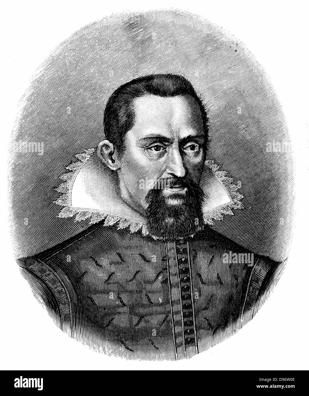 Johannes Kepler (1571-1630) German astronomer. Engraving c1903 - Stock Image