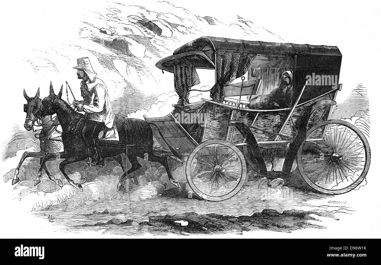 Florence Nightingale (1820 -1910) English nurse, in her carriage in the Crimea. 'It is a homely vehicle corresponding - Stock Image