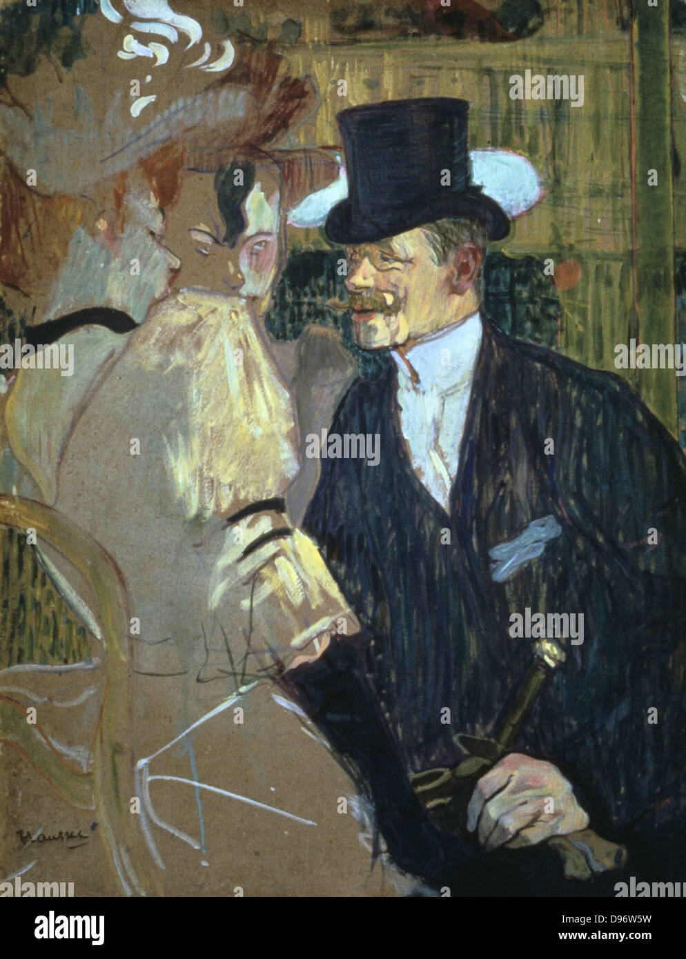 The Englishman (William Warrener) at the Moulin Rouge' 1892: by Henri de Toulouse- Lautrec (1864-1901) French - Stock Image